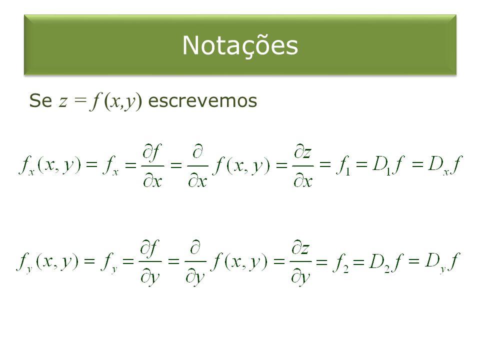 Notações Se z = f (x,y) escrevemos