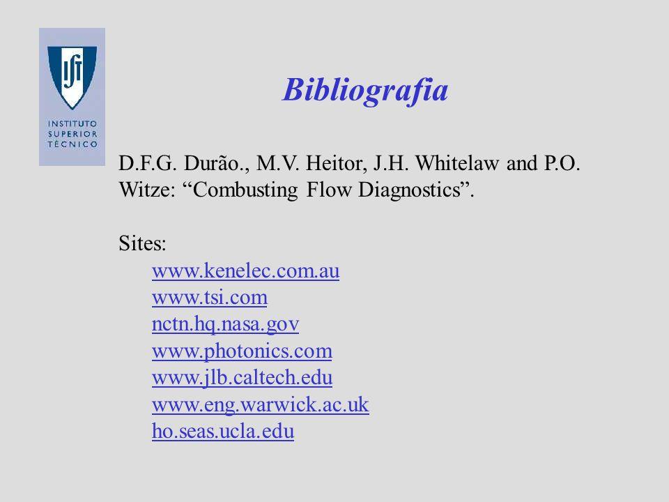 Bibliografia D.F.G. Durão., M.V. Heitor, J.H. Whitelaw and P.O. Witze: Combusting Flow Diagnostics .