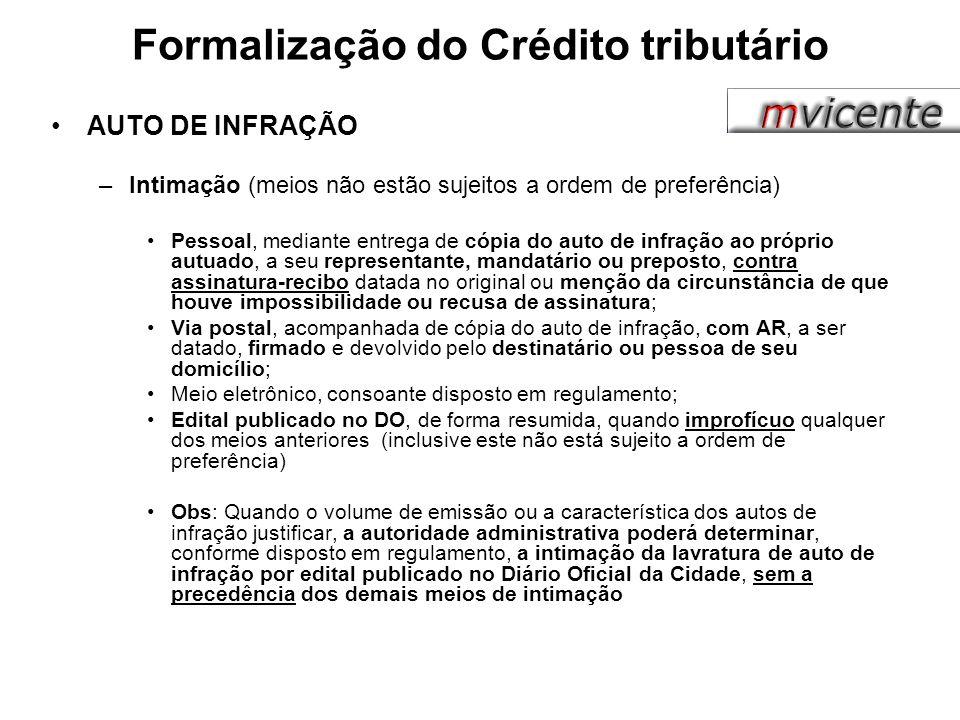Formalização do Crédito tributário
