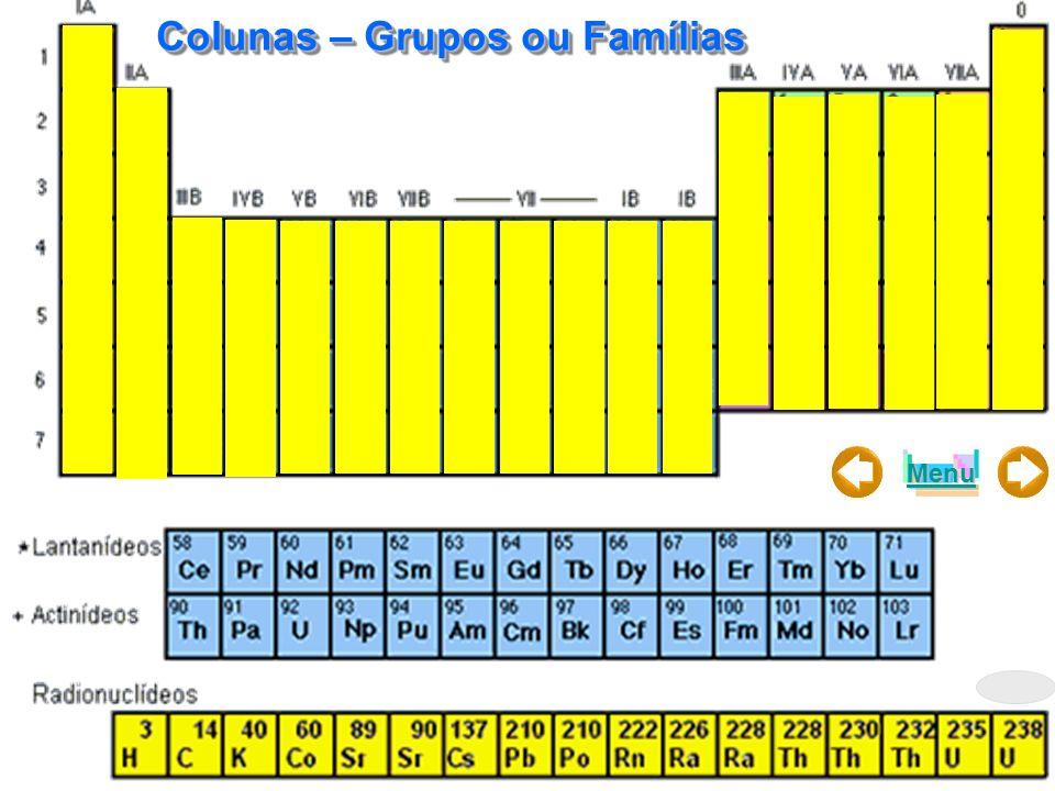 Colunas – Grupos ou Famílias