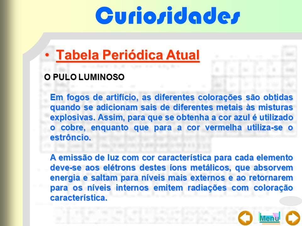 Curiosidades Tabela Periódica Atual O PULO LUMINOSO