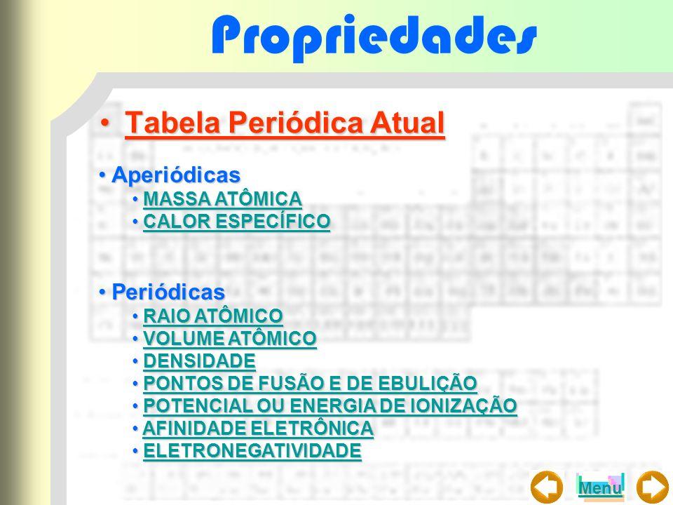Propriedades Tabela Periódica Atual Aperiódicas Periódicas