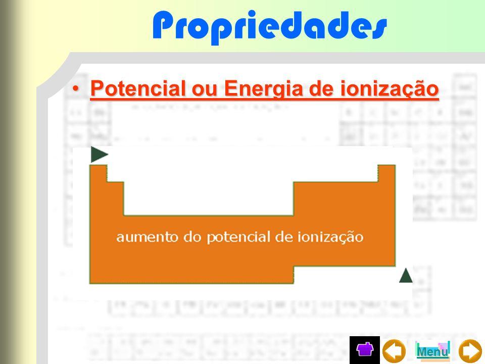 Propriedades Potencial ou Energia de ionização Menu