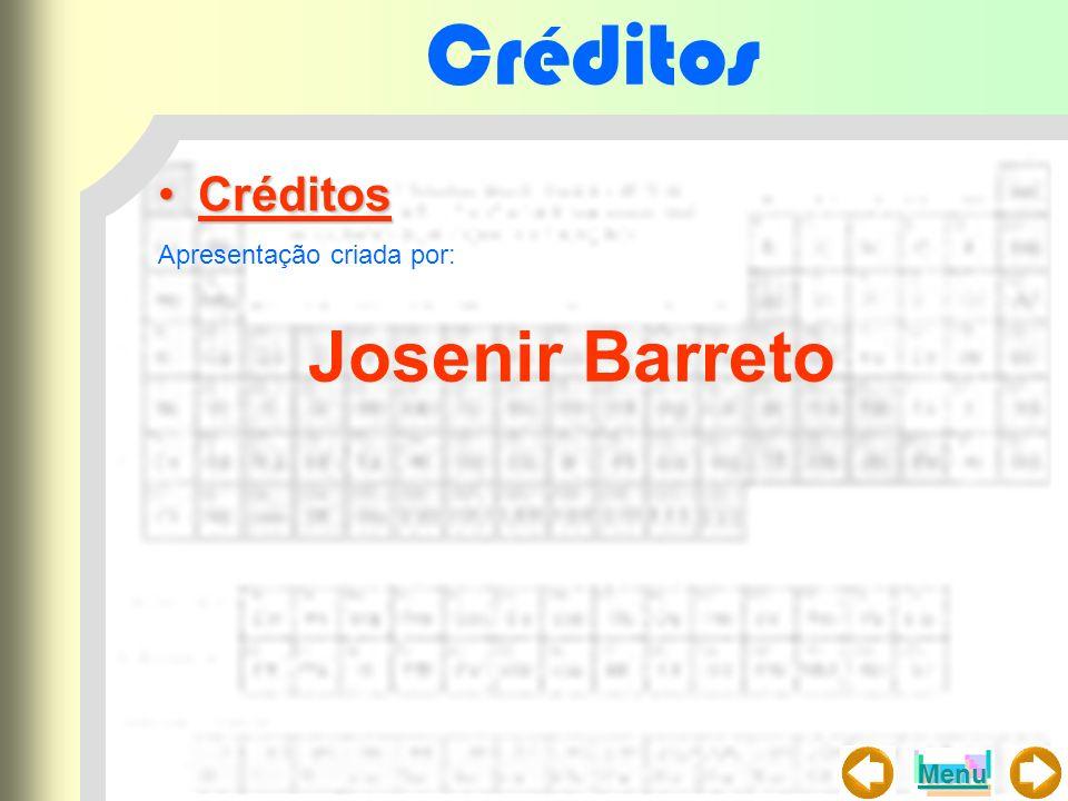 Créditos Créditos Apresentação criada por: Josenir Barreto Menu