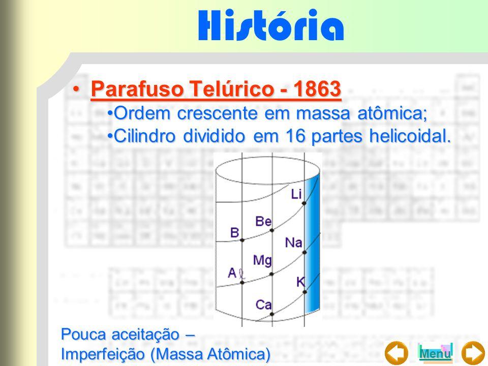 História Parafuso Telúrico - 1863 Ordem crescente em massa atômica;