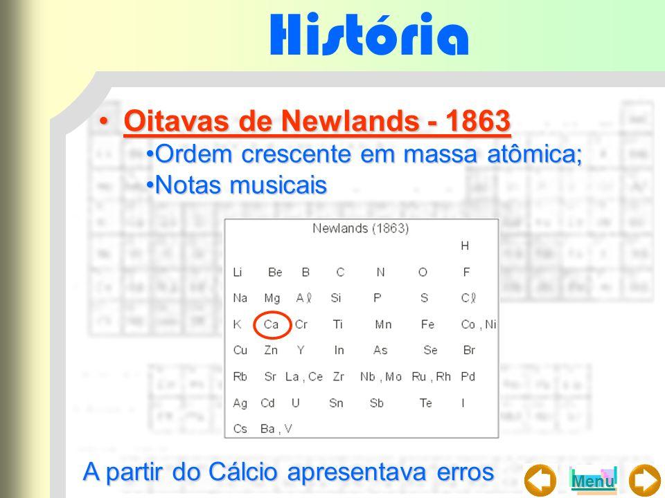 História Oitavas de Newlands - 1863 Ordem crescente em massa atômica;