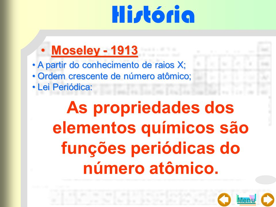 História Moseley - 1913. A partir do conhecimento de raios X; Ordem crescente de número atômico; Lei Periódica: