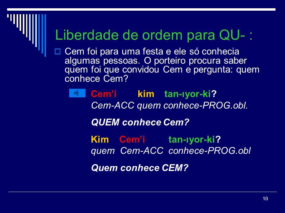 Liberdade de ordem para QU- :