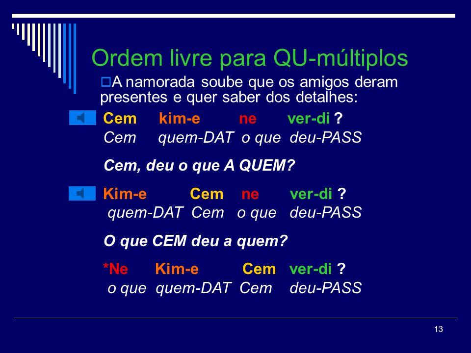 Ordem livre para QU-múltiplos