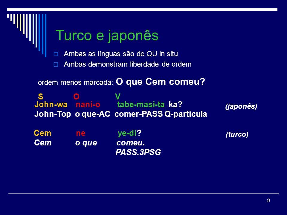 Turco e japonês S O V John-wa nani-o tabe-masi-ta ka