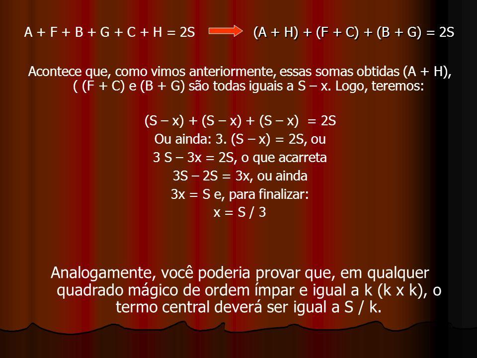 A + F + B + G + C + H = 2S (A + H) + (F + C) + (B + G) = 2S.