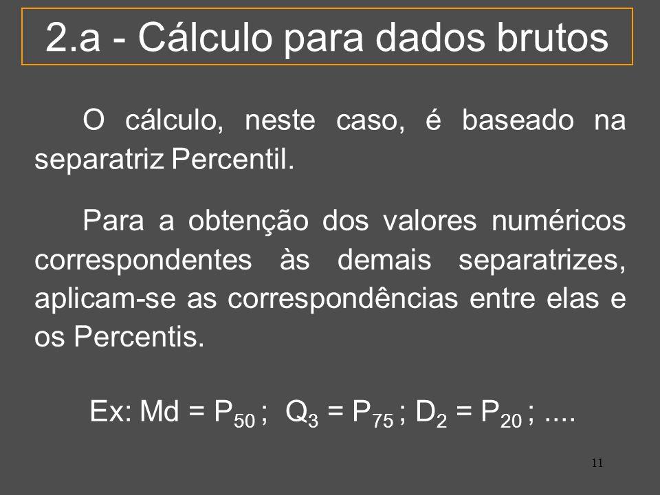 2.a - Cálculo para dados brutos