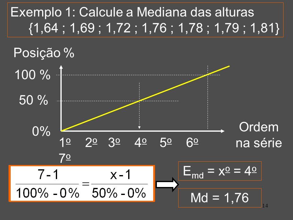 Exemplo 1: Calcule a Mediana das alturas {1,64 ; 1,69 ; 1,72 ; 1,76 ; 1,78 ; 1,79 ; 1,81}