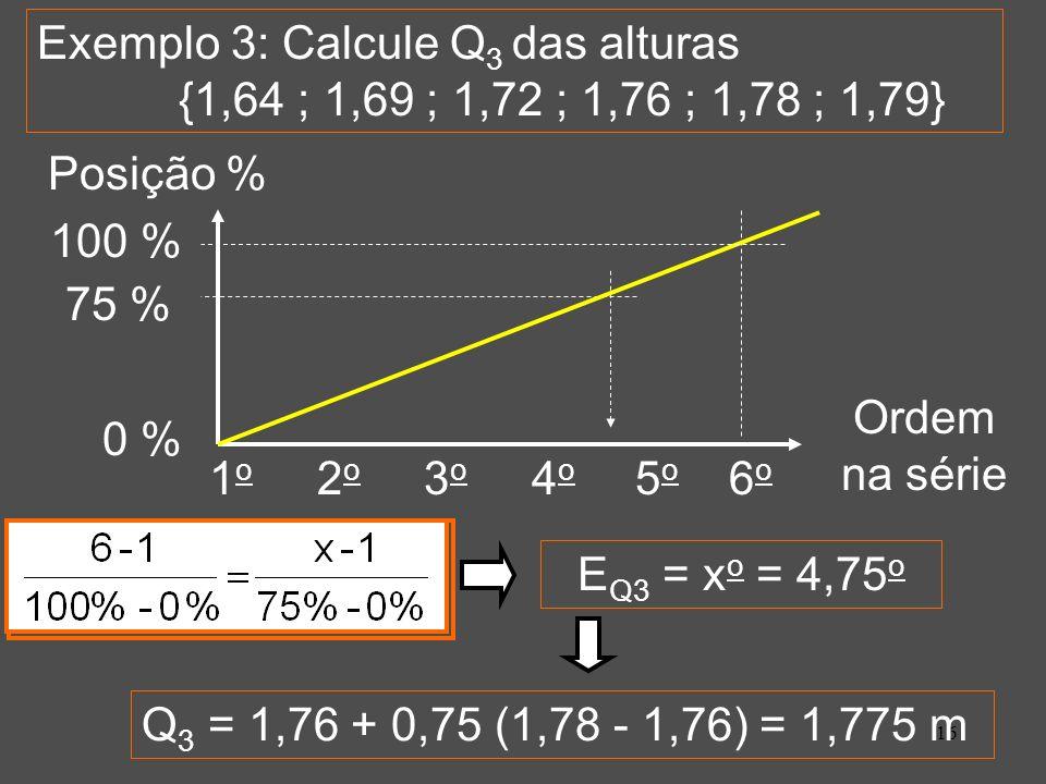 Exemplo 3: Calcule Q3 das alturas {1,64 ; 1,69 ; 1,72 ; 1,76 ; 1,78 ; 1,79}