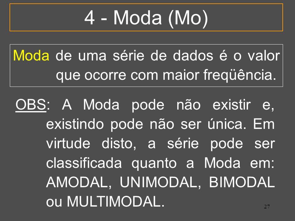 4 - Moda (Mo) Moda de uma série de dados é o valor que ocorre com maior freqüência.