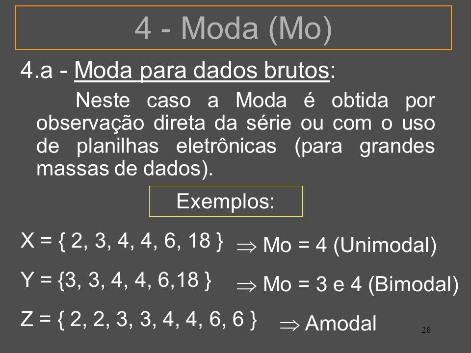 4 - Moda (Mo) 4.a - Moda para dados brutos: