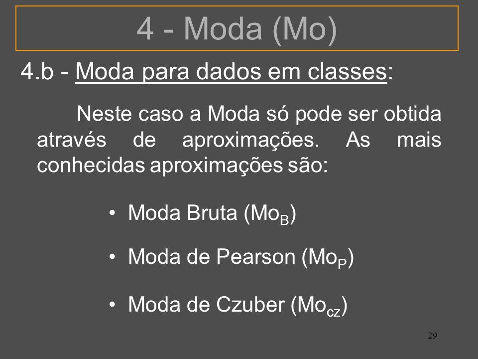 4 - Moda (Mo) 4.b - Moda para dados em classes: