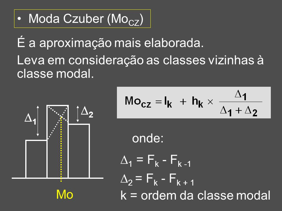 Moda Czuber (MoCZ) É a aproximação mais elaborada. Leva em consideração as classes vizinhas à classe modal.