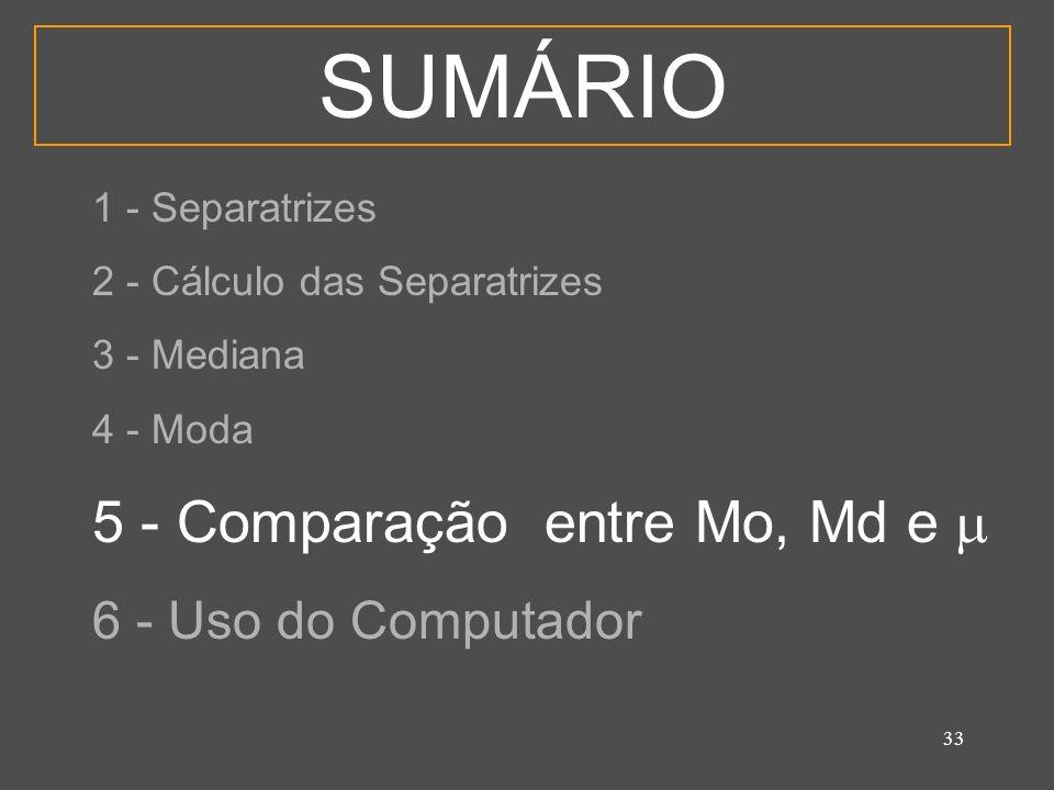 SUMÁRIO 5 - Comparação entre Mo, Md e  6 - Uso do Computador