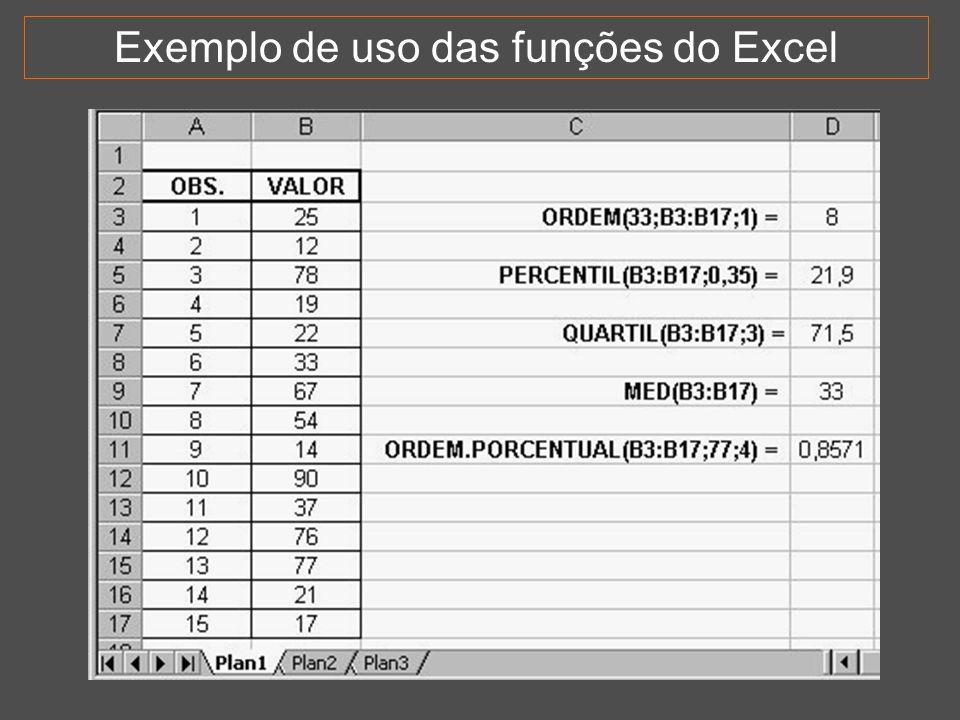 Exemplo de uso das funções do Excel