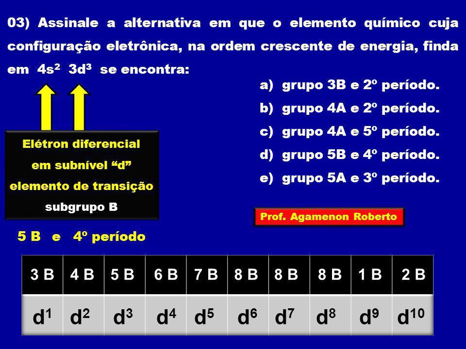 03) Assinale a alternativa em que o elemento químico cuja configuração eletrônica, na ordem crescente de energia, finda em 4s2 3d3 se encontra: