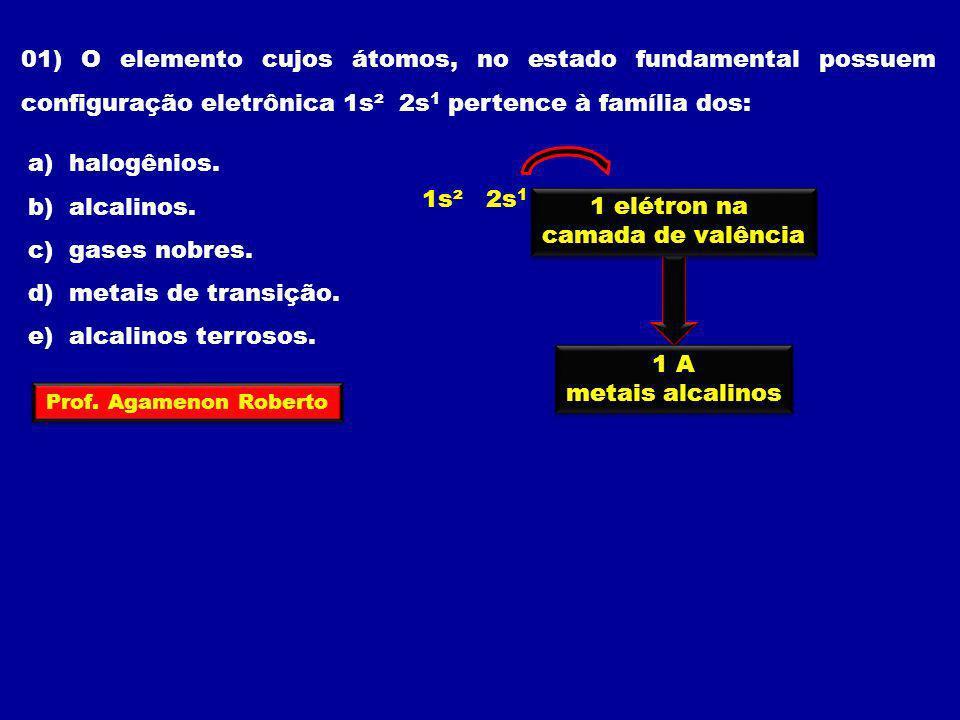 01) O elemento cujos átomos, no estado fundamental possuem configuração eletrônica 1s² 2s1 pertence à família dos: