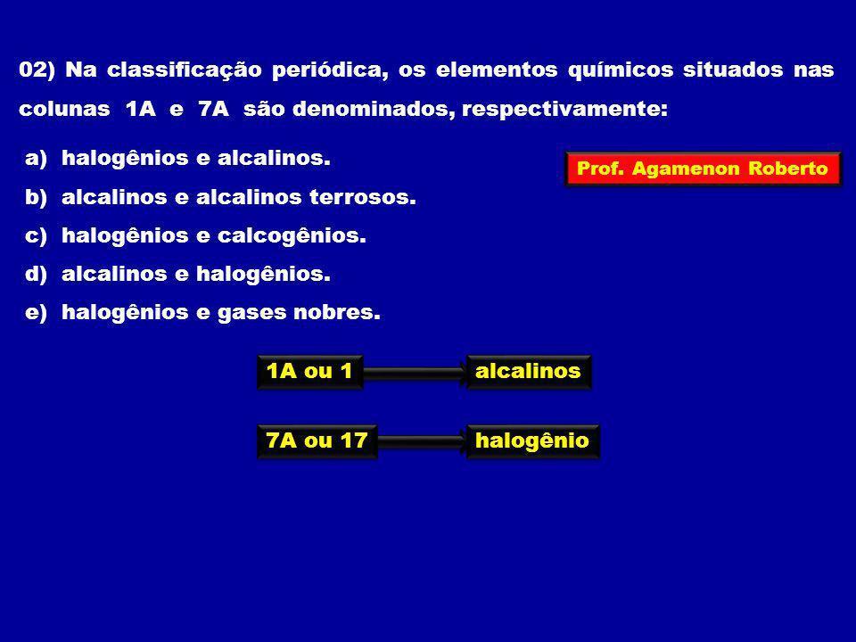 a) halogênios e alcalinos. b) alcalinos e alcalinos terrosos.