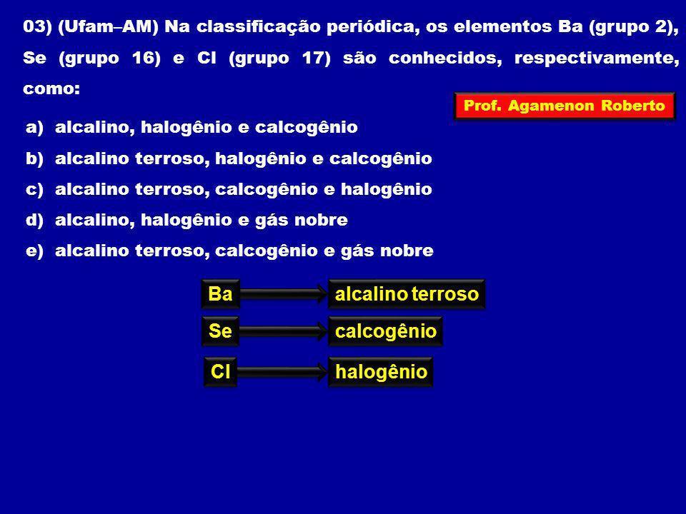 Ba alcalino terroso Se calcogênio Cl halogênio