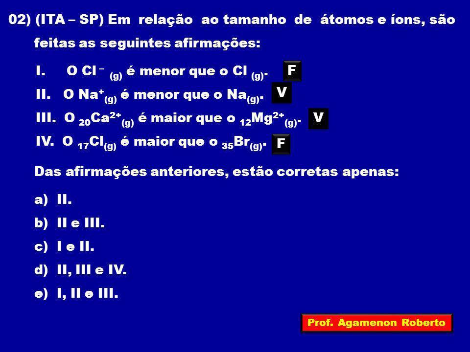 02) (ITA – SP) Em relação ao tamanho de átomos e íons, são