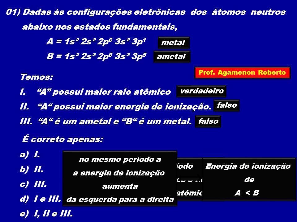 01) Dadas às configurações eletrônicas dos átomos neutros