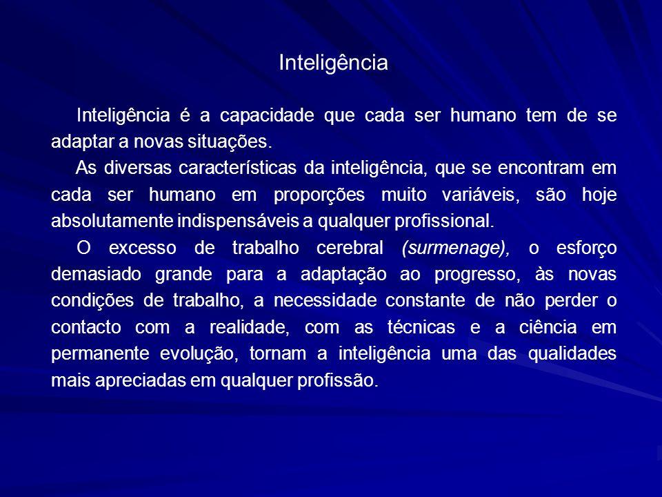Inteligência Inteligência é a capacidade que cada ser humano tem de se adaptar a novas situações.
