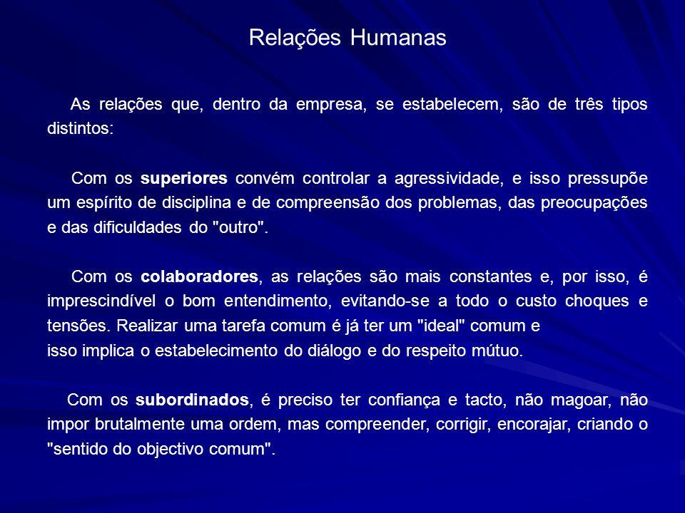 Relações Humanas As relações que, dentro da empresa, se estabelecem, são de três tipos distintos: