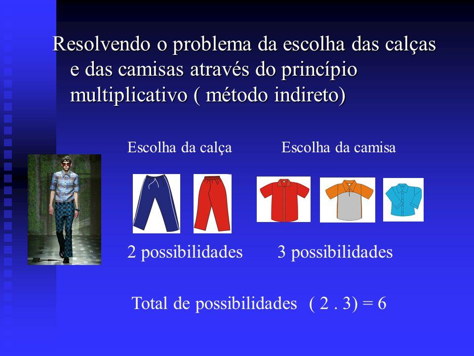 Resolvendo o problema da escolha das calças e das camisas através do princípio multiplicativo ( método indireto)