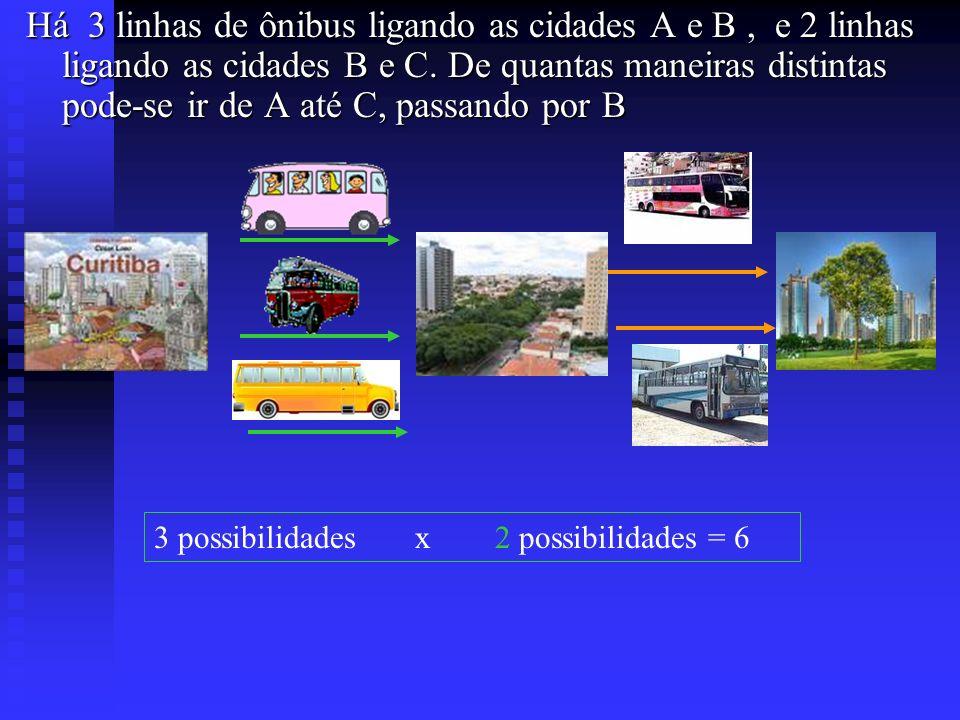 Há 3 linhas de ônibus ligando as cidades A e B , e 2 linhas ligando as cidades B e C. De quantas maneiras distintas pode-se ir de A até C, passando por B