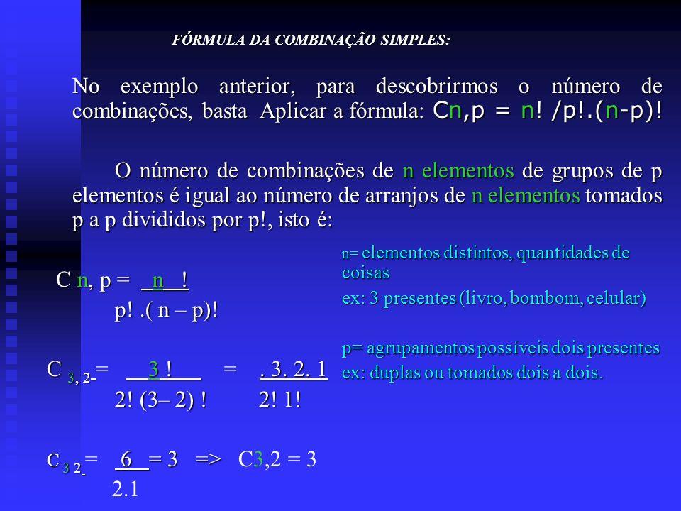 FÓRMULA DA COMBINAÇÃO SIMPLES: