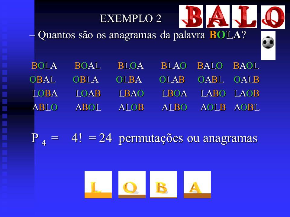 – Quantos são os anagramas da palavra BOLA