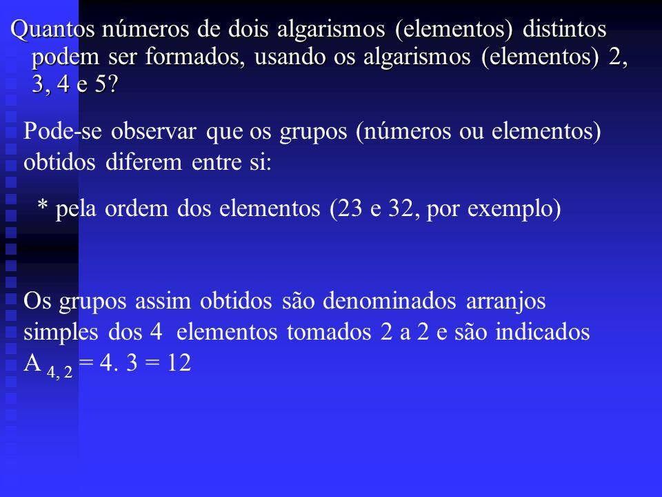 * pela ordem dos elementos (23 e 32, por exemplo)