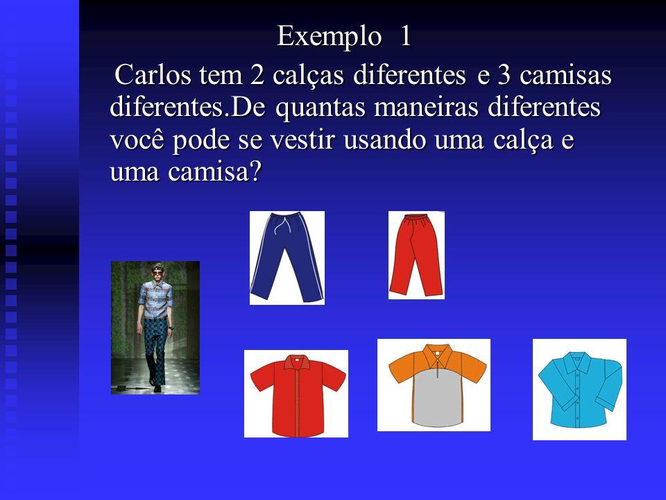 Exemplo 1 Carlos tem 2 calças diferentes e 3 camisas diferentes.De quantas maneiras diferentes você pode se vestir usando uma calça e uma camisa