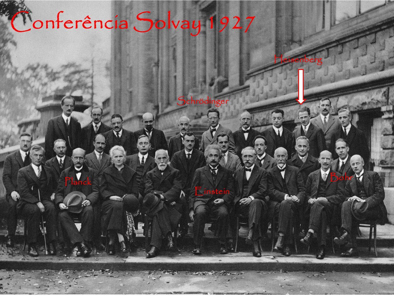 Conferência Solvay 1927 Heisenberg Schrödinger Bohr Planck Einstein