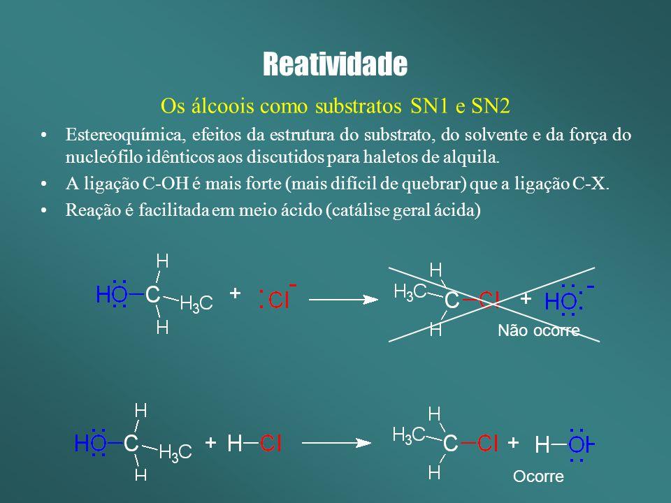Os álcoois como substratos SN1 e SN2