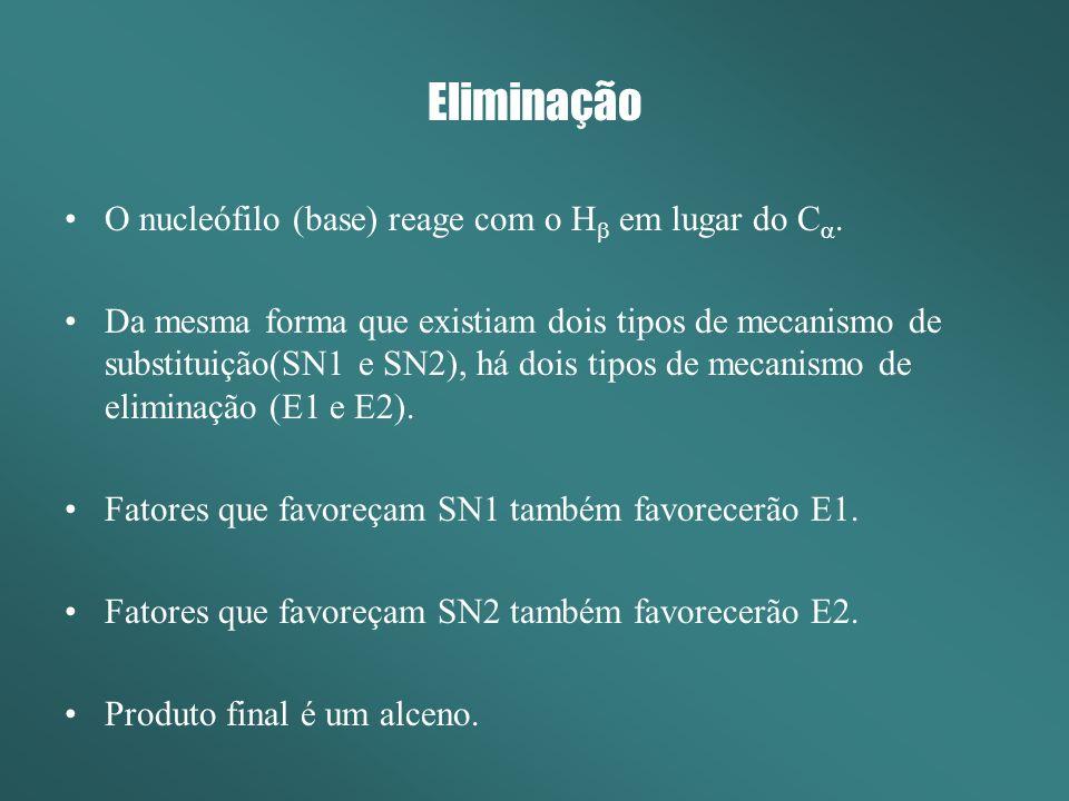 Eliminação O nucleófilo (base) reage com o Hb em lugar do Ca.