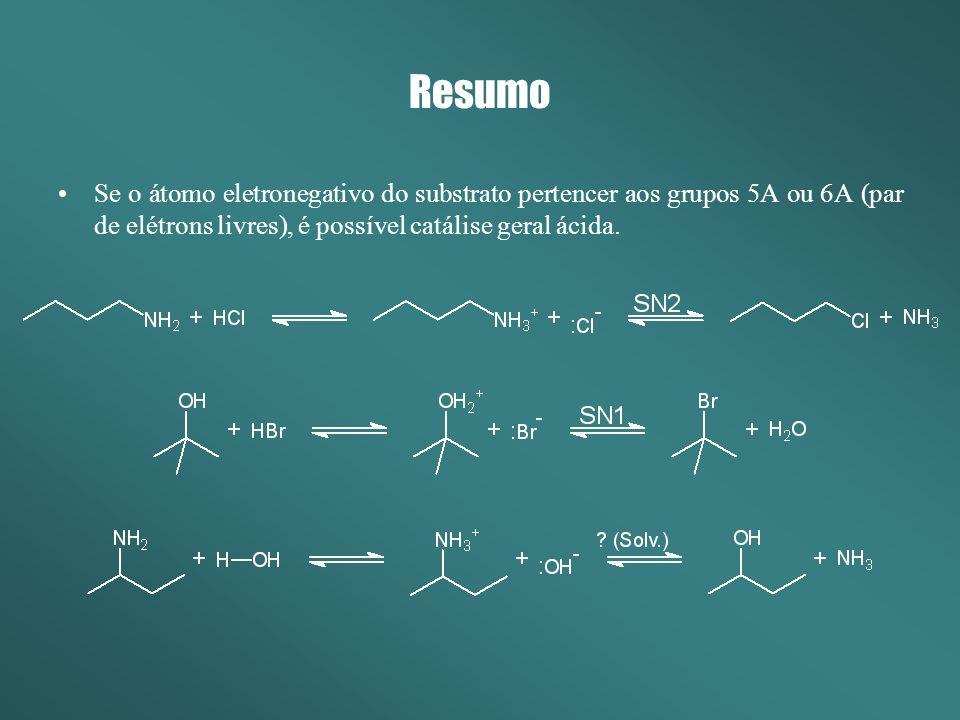 Resumo Se o átomo eletronegativo do substrato pertencer aos grupos 5A ou 6A (par de elétrons livres), é possível catálise geral ácida.