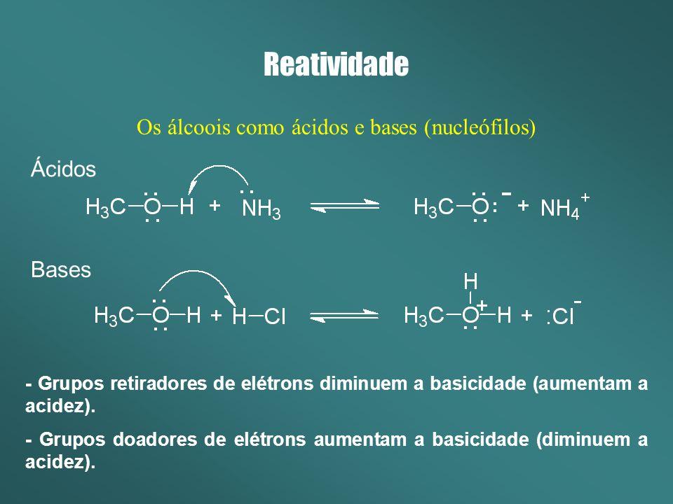Os álcoois como ácidos e bases (nucleófilos)