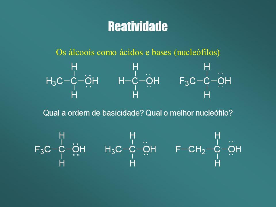 Reatividade Os álcoois como ácidos e bases (nucleófilos)