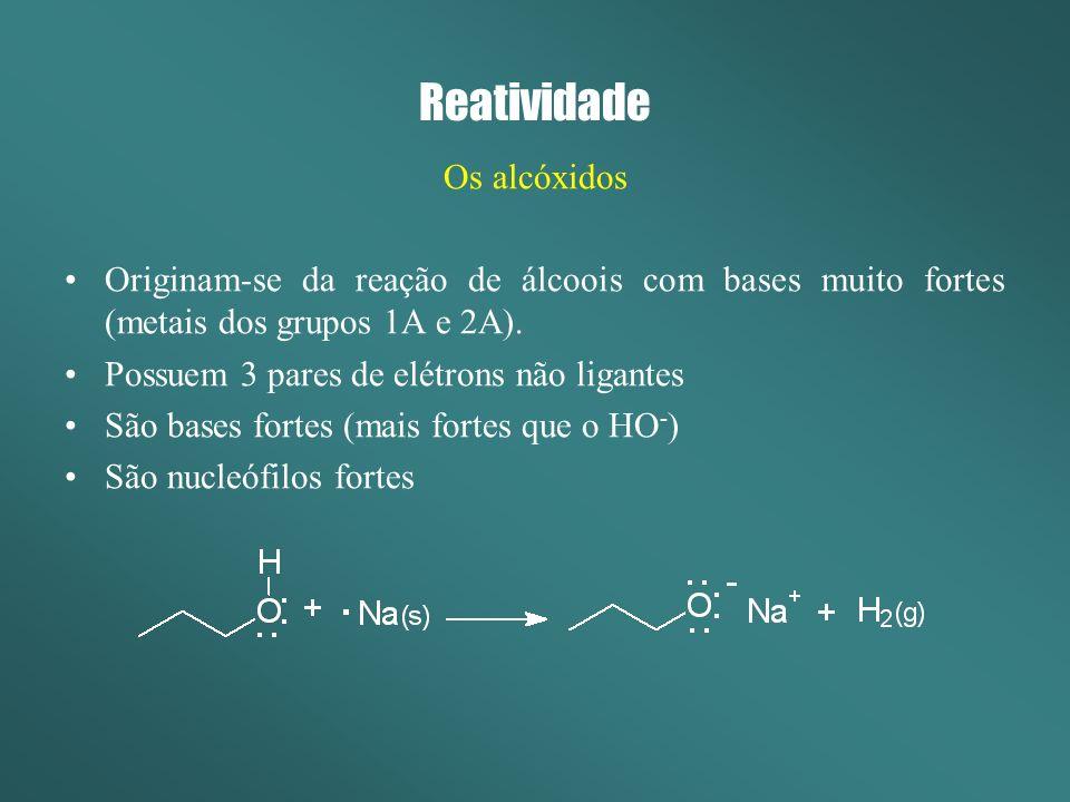 Reatividade Os alcóxidos