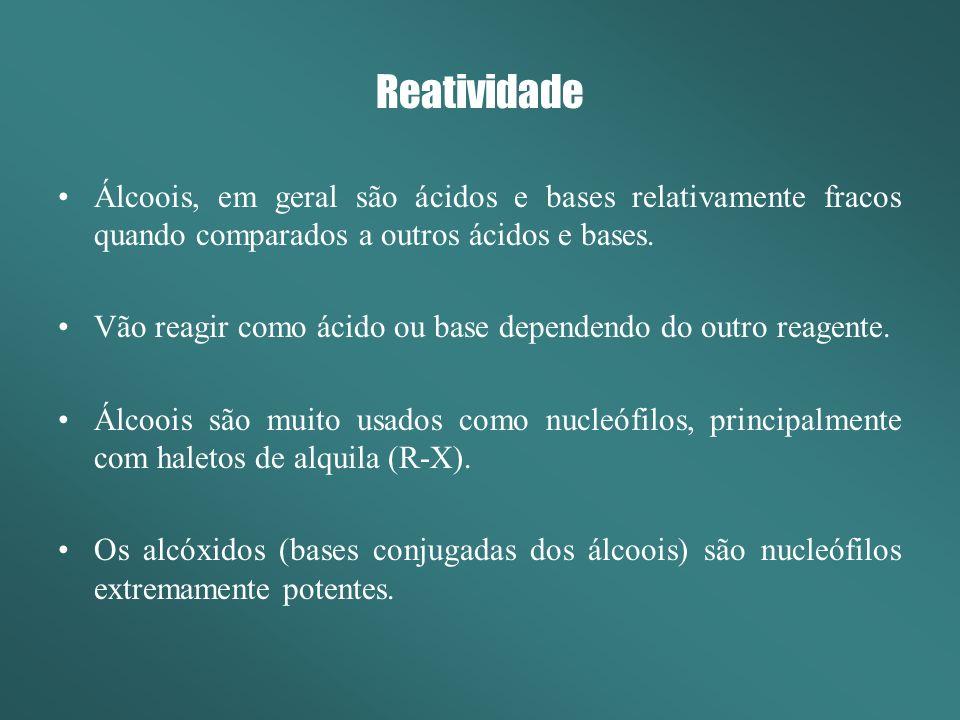 Reatividade Álcoois, em geral são ácidos e bases relativamente fracos quando comparados a outros ácidos e bases.