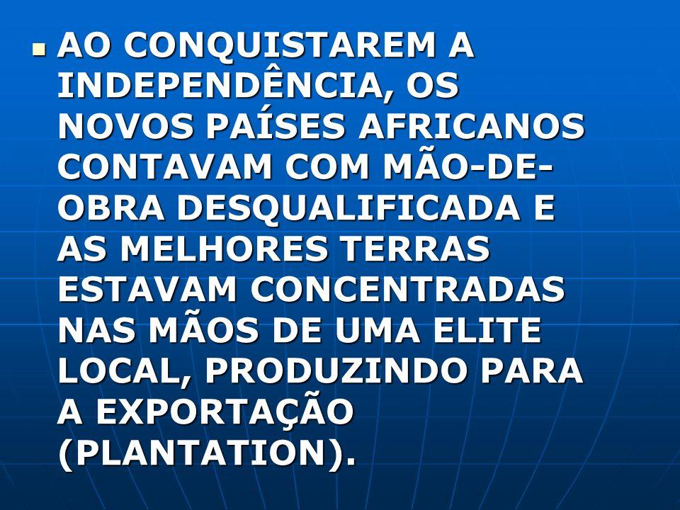 AO CONQUISTAREM A INDEPENDÊNCIA, OS NOVOS PAÍSES AFRICANOS CONTAVAM COM MÃO-DE-OBRA DESQUALIFICADA E AS MELHORES TERRAS ESTAVAM CONCENTRADAS NAS MÃOS DE UMA ELITE LOCAL, PRODUZINDO PARA A EXPORTAÇÃO (PLANTATION).