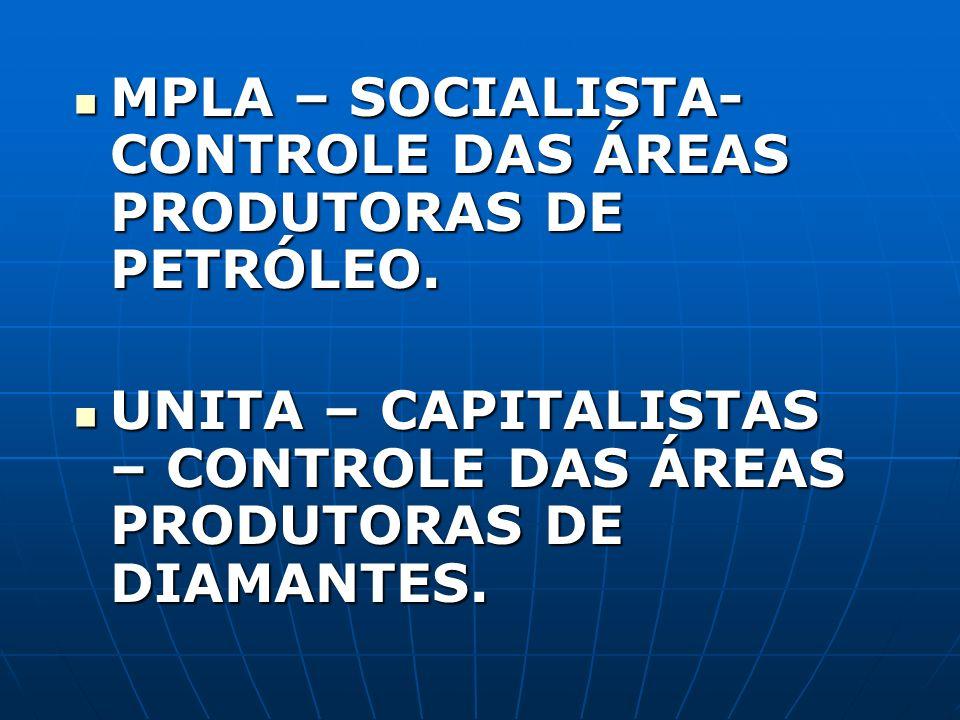 MPLA – SOCIALISTA- CONTROLE DAS ÁREAS PRODUTORAS DE PETRÓLEO.