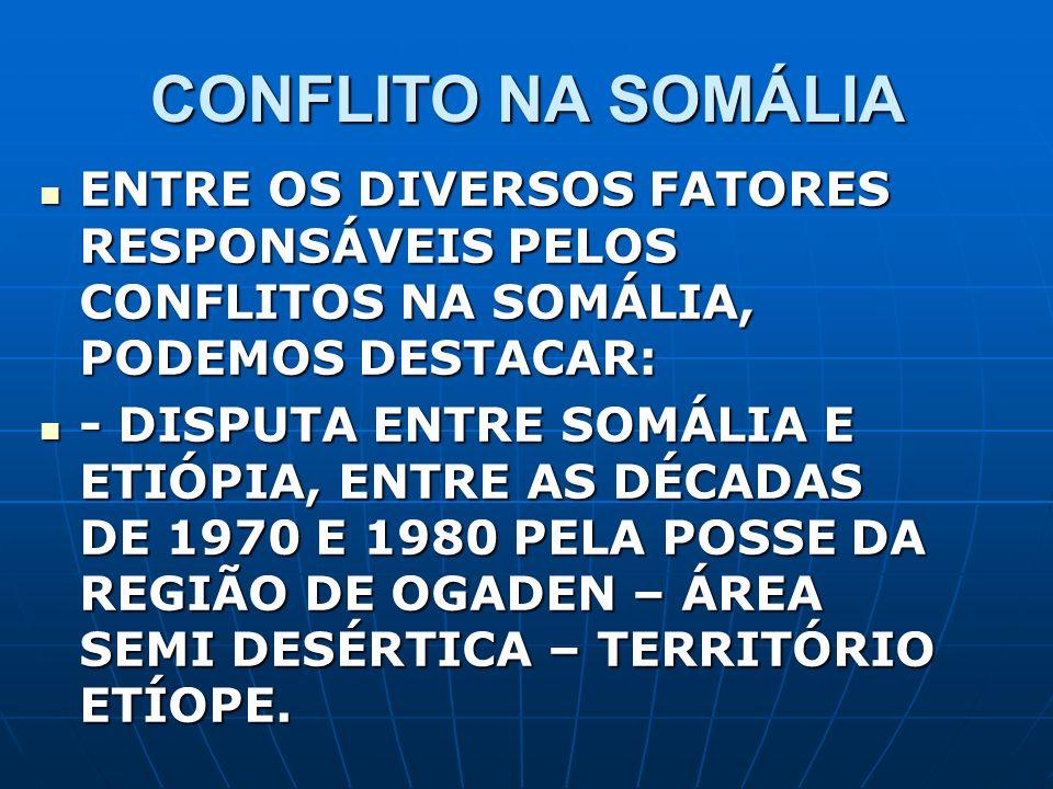 CONFLITO NA SOMÁLIA ENTRE OS DIVERSOS FATORES RESPONSÁVEIS PELOS CONFLITOS NA SOMÁLIA, PODEMOS DESTACAR: