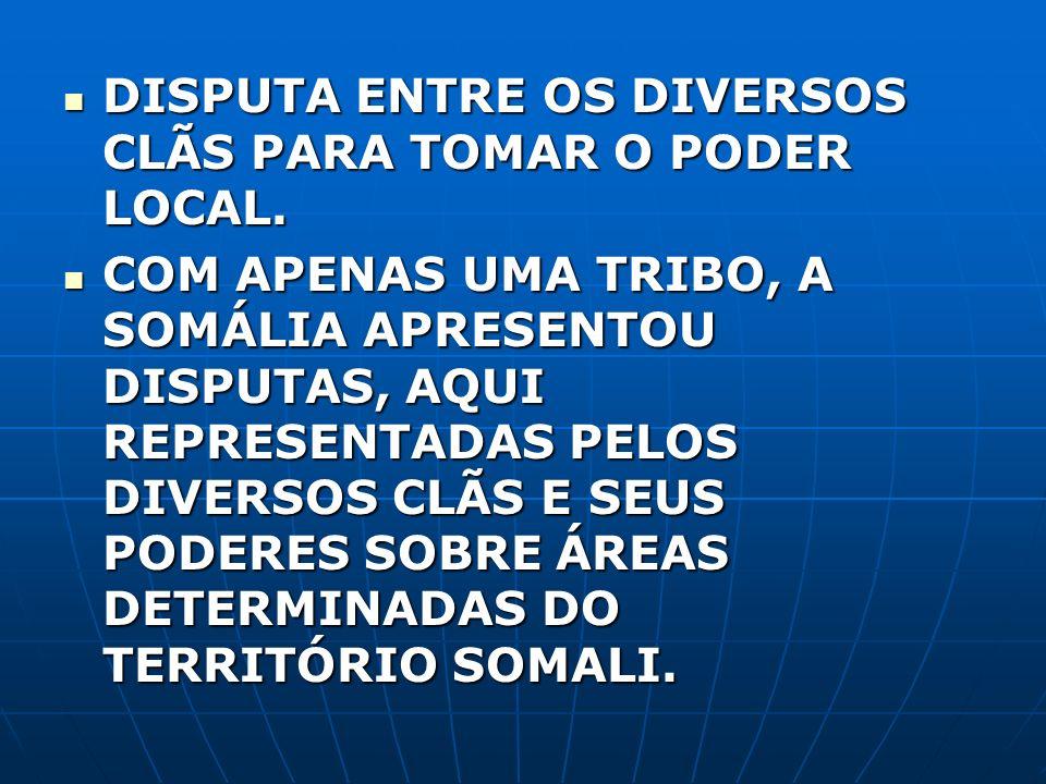 DISPUTA ENTRE OS DIVERSOS CLÃS PARA TOMAR O PODER LOCAL.